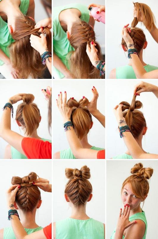 Бантик из волос с плетением