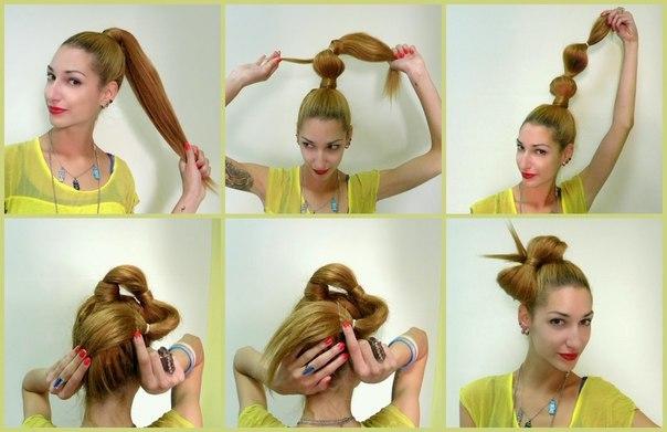 4 способ создания бантика из волос на голове