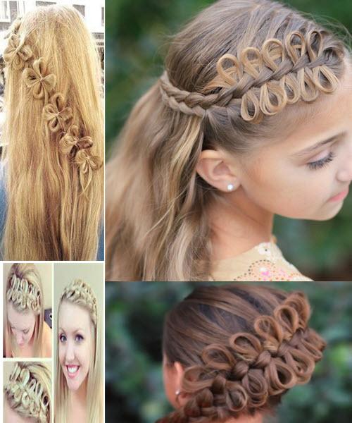 Необычная коса с бантиками из волос