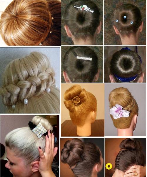 пучок из волос с бубликом, варианты украшения