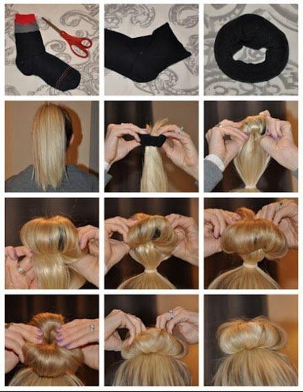 Классический вариант прически с бубликом для волос или Как пользоваться бубликом