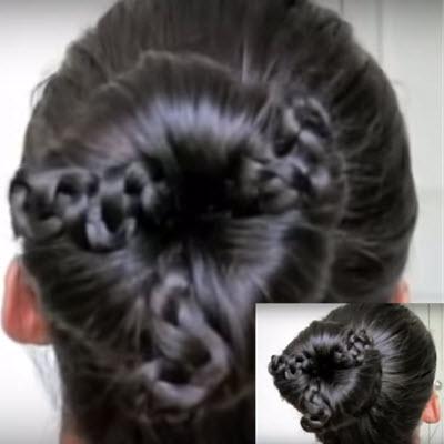 Прически с бубликом на средние волосы