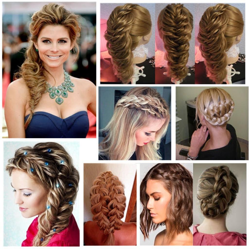 Объёмная причёска с плетением на средние волосы