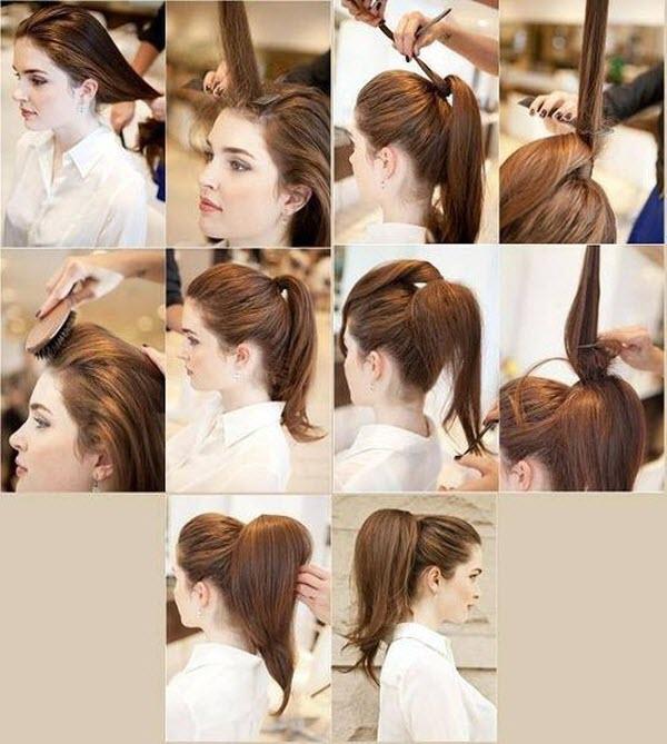 Как собрать хвост из волос заколки