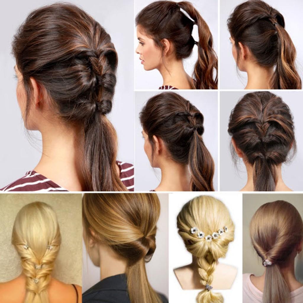 Как сделать прическу из хвоста на средние волосы