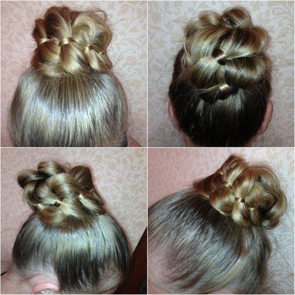 коса из 4 прядей прическа пучок