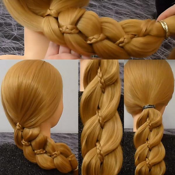 коса из 4 прядей с косой внутри