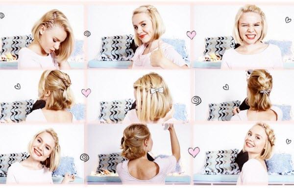 Разберем как сделать причёску в школу самой себе за 5 минут по видео, смотреть бесплатно можно прямо сейчас