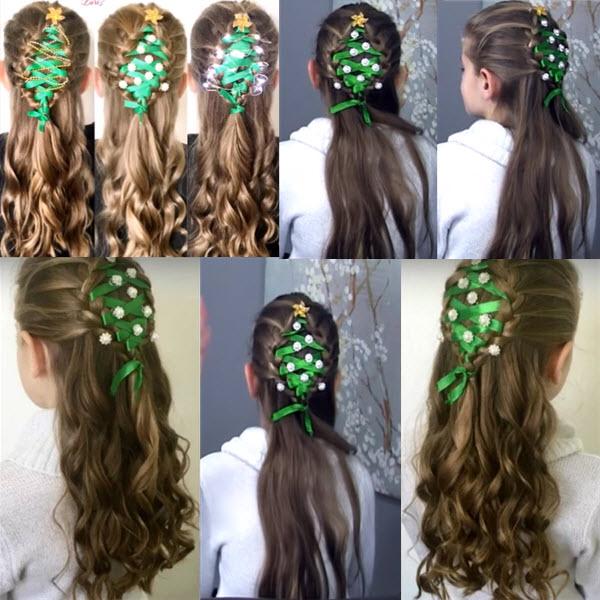 елочка из волос  из 2 кос фото
