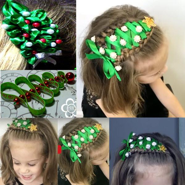 прическа елочка для девочек на коротких волосах с лентой