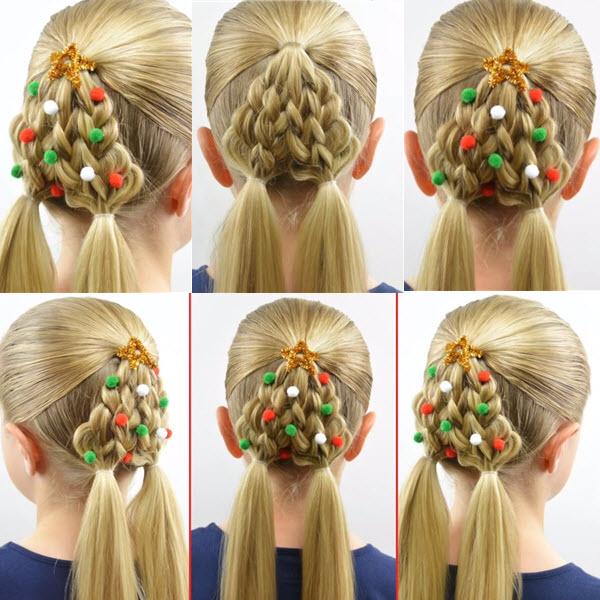 прическа елочка из волос для девочки