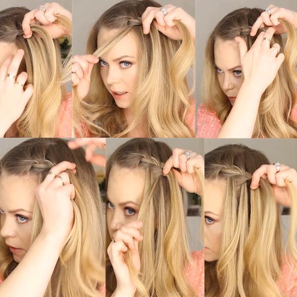 как заплести косу водопад пошагово фото самостоятельно самой себе