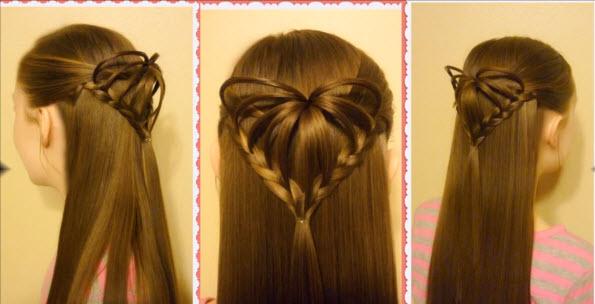 красивое сердечко из волос