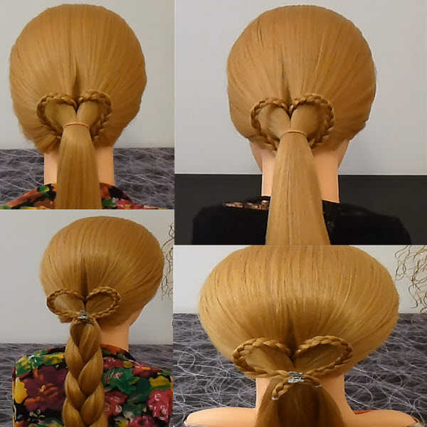 сердечко из волос украшаем косу хвостик