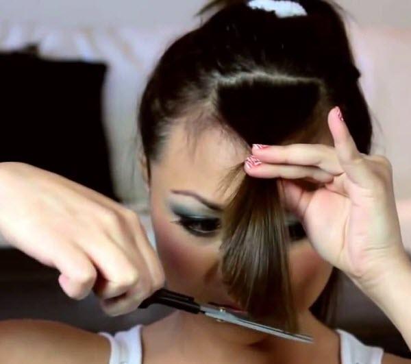 Как подстричь косую челку самостоятельно дома с поворотом пряди