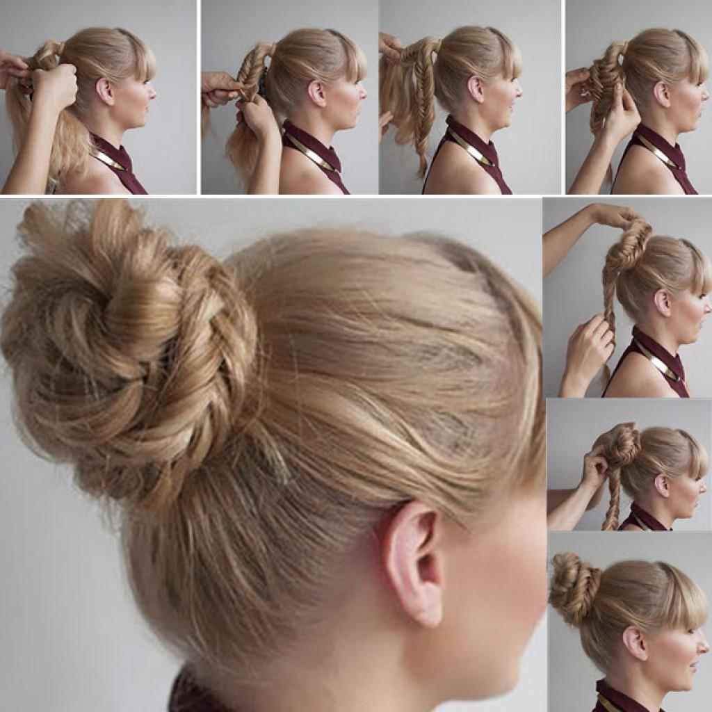 Пучки на волосы средней длины пошаговые фото