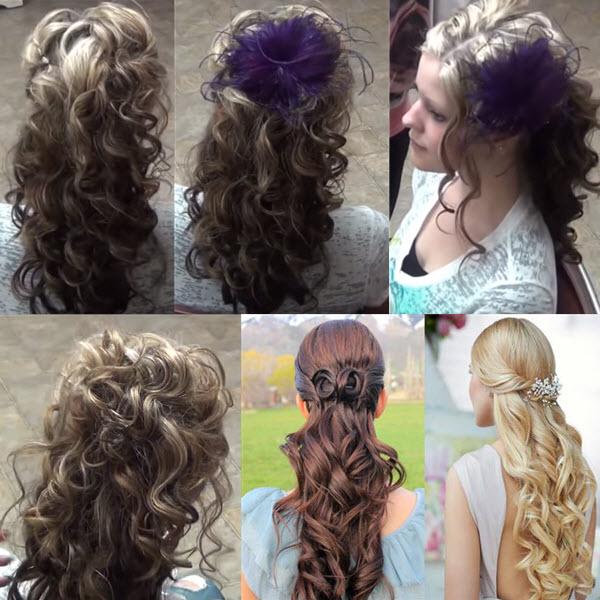 Распущенные волосы с локонами, вариант для школы выпускницы 4 класса (3 варианта прически фото)