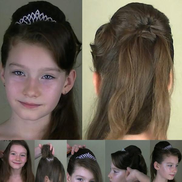Прическа на выпускной в детский сад школу для длинных волос с диадемой пошагово фото видео