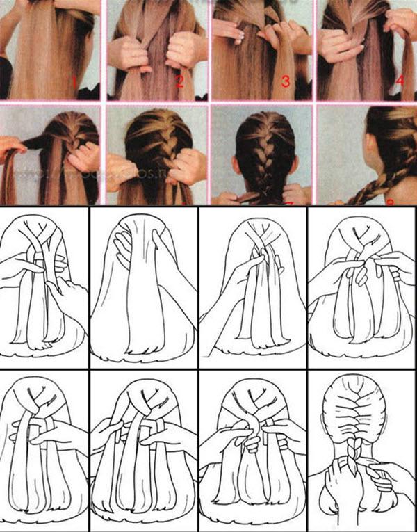 схема плетения французской косы фото