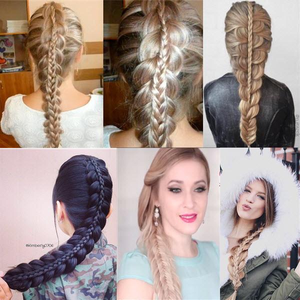 Двойной колосок коса в косе плетем самой себе фото