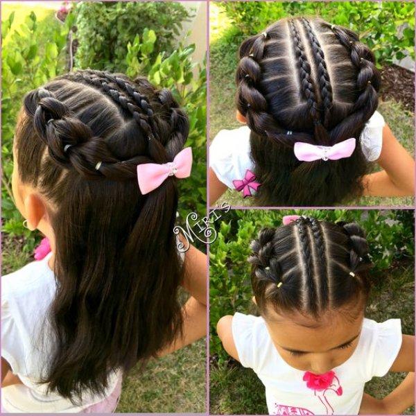Коса из хвостиков с резинками для ребенка в школу, сад готовая прическа