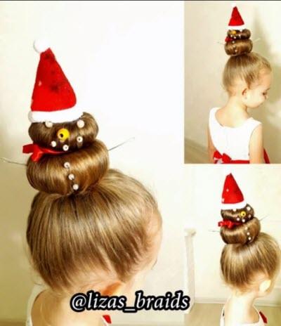 Новогодняя прическа для длинных волос, как сделать снеговика из волос