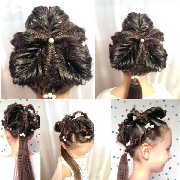 Как сделать нвоогоднюю прическу девочке на длинные волосы с видеоуроками своими руками в домашних условиях и с фото