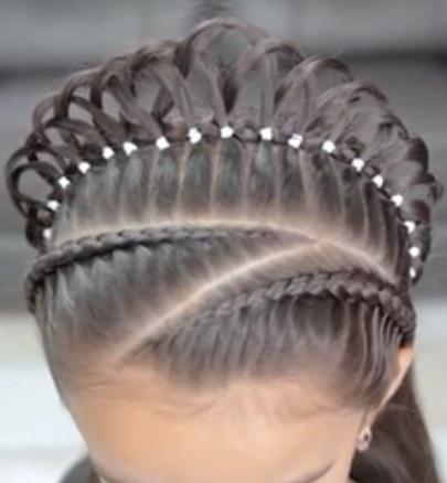 Корона новогодняя прическа на длинные волосы по видео уроку